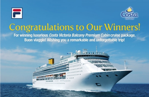 FILA Costa Cruise Winners